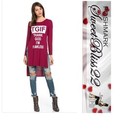 TGIF Thank God I'm Flawless Top( Burgundy) This is the only versatile top you need! Rock it with jeans, or shorts this spring! Either way you are Flawless! Also comes in Olive! Comes in S,M,L. ️Small measures 34 inches in the bust️️️️Medium measures 36inches in the bust️️️Large measures 40 inches in the bust Tops