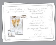 Silver Wedding anniversary Invitations. Prices start from £6.50. Free envelopes and delivery inland uk only.