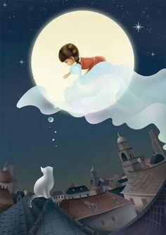 Good night I hope you sleep well. Good Night Beautiful, Good Night Sweet Dreams, Good Night Moon, Good Night Image, Beautiful Moon, Good Morning Good Night, Art Carte, Art Et Illustration, Moon Art