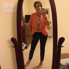 Maybe one of our last warm days so my #OOTD included cropped #AnnTaylor pants with a colorful #Stitchfix jacket and blouse. #Lapis was the jewelry feature with the #SilpadaStyle Into the Blue necklace and mixed metals. #WhatIWore #Fashion #fashionover40 #officechic #jewelry