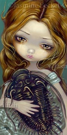 Pet Trilobite gothic fossil fairy mermaid big eye lowbrow art print by Jasmine Becket-Griffith 8x16