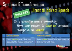 Changing from Direct to Indirect speech - Rule # 12 Direct And Indirect Speech, Speech Rules, Reported Speech, English Study, English Grammar, Esl, Homework, Education, Sayings
