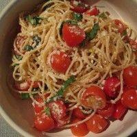 Cherry Tomatoes, Lemon and Tuna Angel Hair Pasta