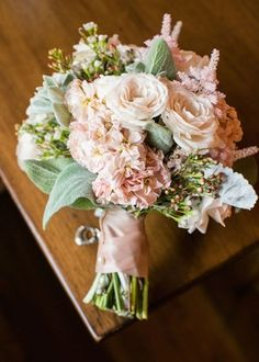 Blush Bridal Bouquet with Greenery Photography: Samuel Lippke Studios Read More: http://www.insideweddings.com/weddings/charming-rustic-elopement-with-outdoor-ceremony-in-santa-barbara/694/