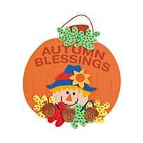 Autumn Blessings Sign Craft Kit(pack of Halloween Wishes, Halloween Crafts, Summer Crafts, Fall Crafts, Wreath Crafts, Paper Crafts, Fall Tree Painting, Bible Crafts For Kids, Children Crafts