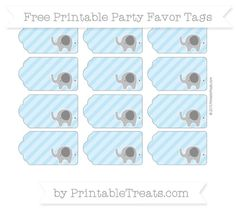Baby Blue Diagonal Striped Elephant Party Favor Tags