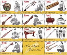 2015 Traditional Music Instruments.  Issued date: 9 March 2015. After successively issued in 2013 and 2014, Pos Indonesia on March 9, 2015 published a series of stamps for the next 11 provinces, namely: Dol of Bengkulu, Tehyan of Jakarta, Cangor of Jambi, Panting of South Kalimantan, South Sulawesi Harp, Kendang of DI Yogyakarta, Hasapi of North Sumatra, Kolintang of North Sulawesi, Bamboo Hitada of North Maluku, Dambus of Bangka Belitung and Sarone of West Nusa Tenggara.