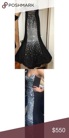 Jovani Sweetheart Mermaid Gown Sweetheart taffeta mermaid gown with uniquely positioned crystals down the center. Size 4! Only worn once! No alterations! Jovani Dresses Prom