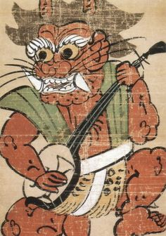 Goblin    Devil Playing Shamisen (detail)  Otsu-e (Japanese Folk Painting)  Edo Period, 18th Century
