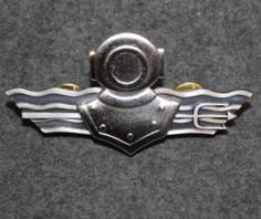 Finnish Navy Combat Diver badge. 2nd class Military Equipment, Badge, Navy, Button Badge, Badges, Navy Blue