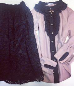 Midi black&dark blue skirt and ruffled light rose blouse @ymociondesign www.ymocion.com Light Rose, Black Dark, Blouse, Skirts, Jackets, Fashion Design, Down Jackets, Blouses, Skirt