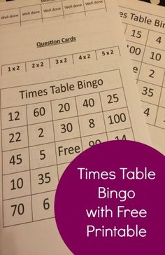 Times Table Bingo With Free Printable - The Life Of Spicers