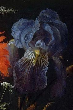 Abraham Mignon -  fiori in un vaso di cristallo posto su un piedistallo di pietra, con una libellula (particolare)