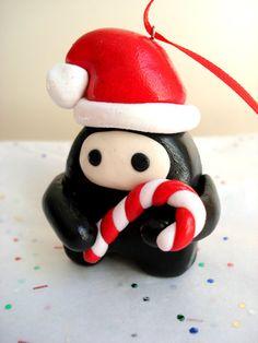 Ninja Christmas Ornament Polymer Clay Chibi by MagicalMeGifties, $14.99
