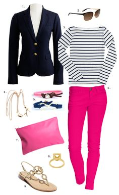 Take a look at the best pink pants outfit work in the photos below and get ideas for your own outfits! How to wear bright colors at the office with these fuchsia pink pants, navy and white striped boyfriend shirt… Continue Reading → Mode Outfits, Fall Outfits, Casual Outfits, Fashion Outfits, Fashion Scarves, Fashion Ideas, Pink Jeans Outfit, Pants Outfit, Outfit Work
