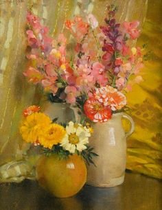 Laura Coombs Hills Sweet Peas, Zinnias, Snapdragons and Marigolds 20th century