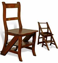 silla escalera, en madera