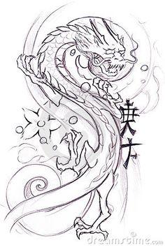 Tattoo art, sketch of a japanese dragon by Fernando Cortés, via Dreamstime