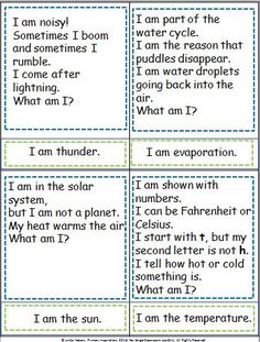 Practice inferring and key questions with Weather Wonderings, a set of 20 riddle cards, picture/word answer cards, and a game to review the vocabulary.