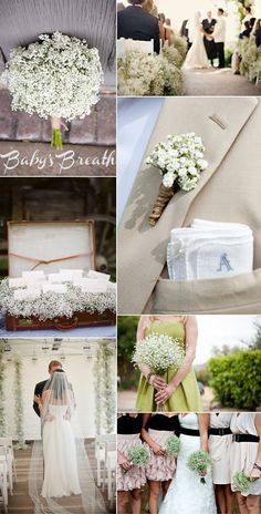 So loving the baby's breath. Thinking that with self-crafted burlap flowers, and pops of random colored flowers! Would love to incorporate daisies too!