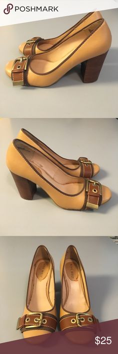 """Nine West buckle heels Gorgeous man made heels by Nine West with minimal signs of wear and so so cute. 3.5"""" heel in a tan vegan leather with brown buckle strap. GUC. Nine West Shoes Heels"""