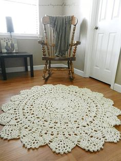 Giant Crochet Doily Rug, floor, off white- Ecru- nude- Lace- large area rug, Cottage Chic- Oversized- shabby chic home decor- round rug on Etsy, $110.00