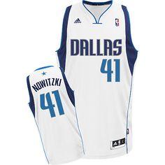 05005569416e Adidas NBA Dallas Mavericks 41 Dirk Nowitzki New Revolution 30 Swingman  Home White Jersey