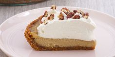 Anna's maple cream pie is sprinkled with chopped pecans for a beautiful finish on a delicious dessert.