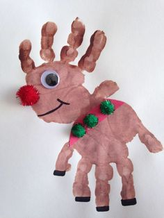 Christmas crafts for kids Handprint Rudolph Craft Reindeer Craft Christmas Craft Preschool Craft Christmas Crafts For Toddlers, Easy Crafts For Kids, Christmas Crafts For Kids, Toddler Crafts, Simple Christmas, Preschool Crafts, Diy Christmas, Christmas Activities, Christmas Recipes