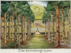 The Even King's Gate by J.R.R. Tolkien. Tolkien's illustrations to his own works show the influence of the Arts and Crafts movement.