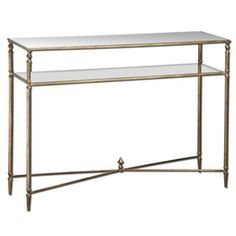 Check out the Uttermost 24278 Henzler Mirrored Glass Console Table in Antiqued Gold Leaf