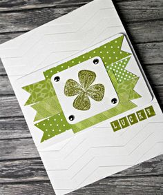 Craft-e-Corner Blog * Celebrate Your Creativity: Fifty Shades Of Green! Lucky St. Patricks Day Card.