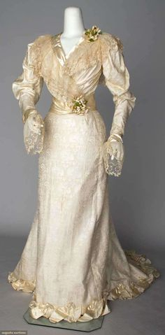 1890s silk wedding dress.