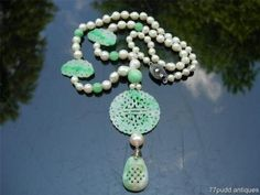 LOVELY-ANTIQUE-VINTAGE-CHINESE-PEARL-JADEITE-JADE-NECKLACE
