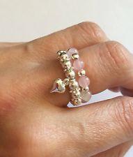 ROSE QUARTZ SILVER HEART THUMB DUO RING SET - STRETCH Diy Beaded Rings, Diy Rings, Handmade Beaded Jewelry, Handmade Rings, Beaded Bracelets, Seed Bead Jewelry, Heart Jewelry, Wire Jewelry, Jewelry Rings