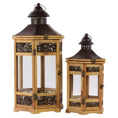 Set of 2 gazebo-style candle lanterns.   Product: Small and large candle lanternConstruction Material: Wood and meta...