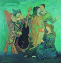 """""""MUSICOS"""" SOLDI, Raúl 1905-1994 Pintura al óleo sobre tela pegada sobre tabla Medidas: Alto 1,220 mts. Ancho: 1,170 mts."""