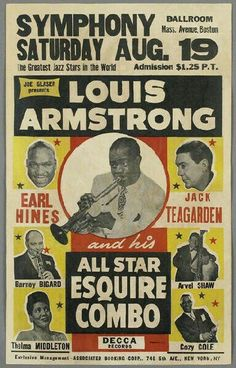 Gig posters, flyers and handbills from around the world! Rock Posters, Band Posters, Concert Posters, Music Posters, Jazz Poster, Blue Poster, Gig Poster, Historia Universal, Louis Armstrong