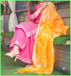 Image may contain: one or more people, people standing and outdoor Pakistani Dresses, Indian Dresses, Indian Outfits, Punjabi Dress, Western Outfits, Designer Punjabi Suits, Indian Designer Wear, Indian Attire, Indian Wear
