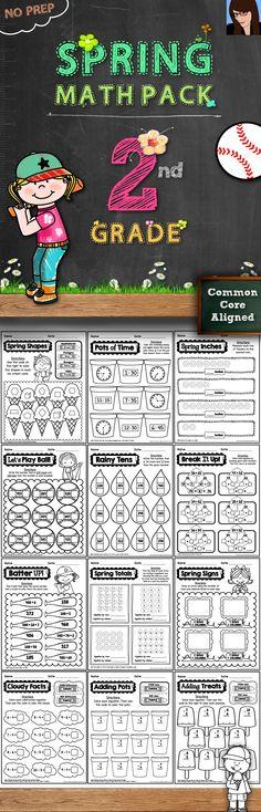 Spring Math Pack for 2nd Grade - 62 No Prep Printables!