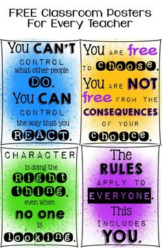 FREE Classroom Posters For Every Teacher - Character Education!! Paint spatter colors or black and white.