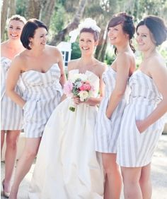 Pattern/print bridesmaids dresses can be more fun and wearable than a solid color. So cute!