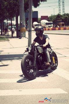 Cruising on a 'Bobber'.