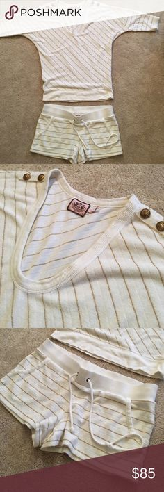 Juicy couture terry cloth outfit White and Gold Stripes... terry cloth.. great condition' size MEDIUM Juicy Couture Shorts