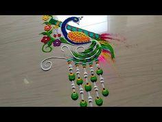 Krishna JANMASTAMI special peacock rangoli designs with flowers by jyoti Rangoli Designs Peacock, Small Rangoli Design, Colorful Rangoli Designs, Rangoli Designs Diwali, Diwali Rangoli, Beautiful Rangoli Designs, Mehndi Designs, Diwali Gif, Diwali 2018