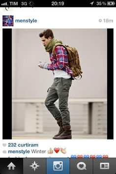 plaid shirt, white tee, green cargo pants, boots I would giggle if I could play dress up with you ; Rugged Style, Mode Masculine, Sharp Dressed Man, Well Dressed, Look Fashion, Men Fashion, Stylish Men, Men Casual, Old School Style