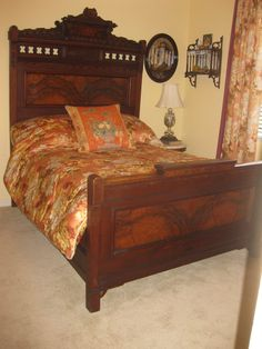 Beautiful VICTORIAN East Lake BEDROOM SET Burled Wood Walnut And Marble Top  Dresser With Hidden Drawer