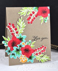 Love You Card by Dawn McVey for Papertrey Ink (December 2016)