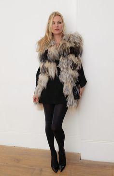 Kate Moss sleeveless fur coat