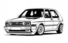 Golf trick, tips and training Golf Mk2, Vw Tattoo, Sticker Auto, Volkswagen Golf Gti, Car Design Sketch, Kart, Car Illustration, Vw Cars, Car Drawings